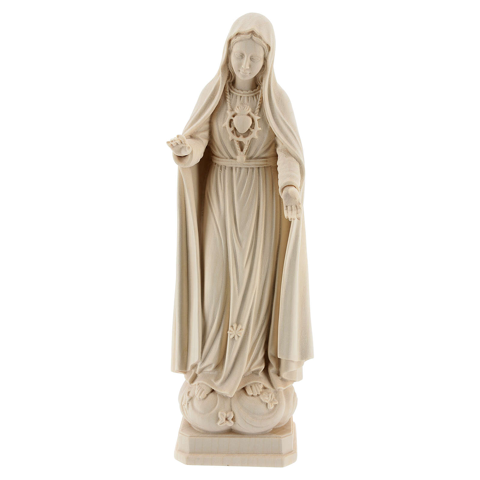 The Immaculate Heart of Mary in natural wood of Valgardena 4