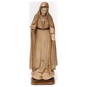 Imágenes de madera natural: Corazón Inmaculado de María madera Val Gardena bruñida 3 colores