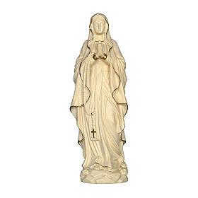 Imágenes de madera natural: Virgen de Lourdes madera Val Gardena encerada hilo oro