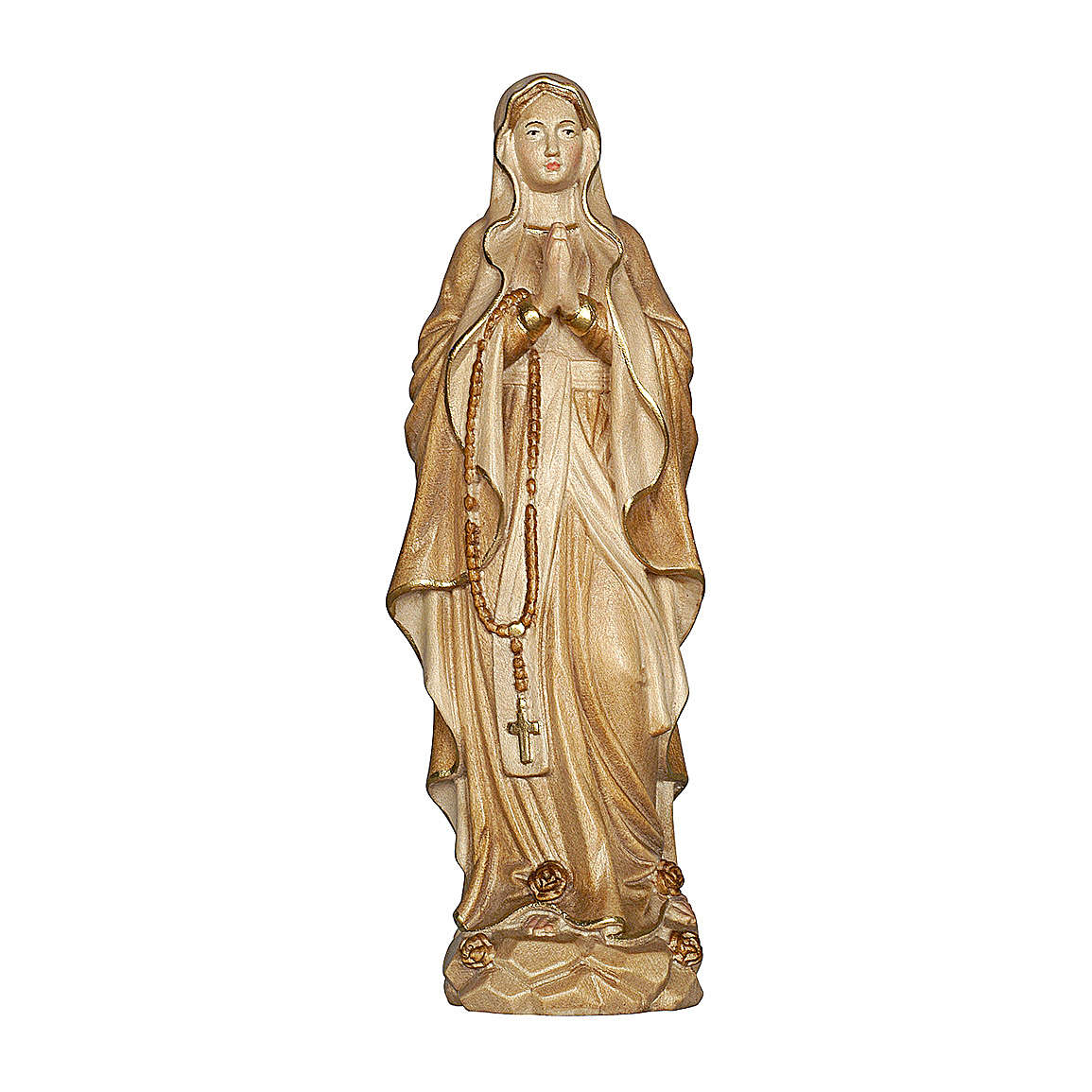 Our Lady of Lourdes in wood of Valgardena burnished in 3 colours 4