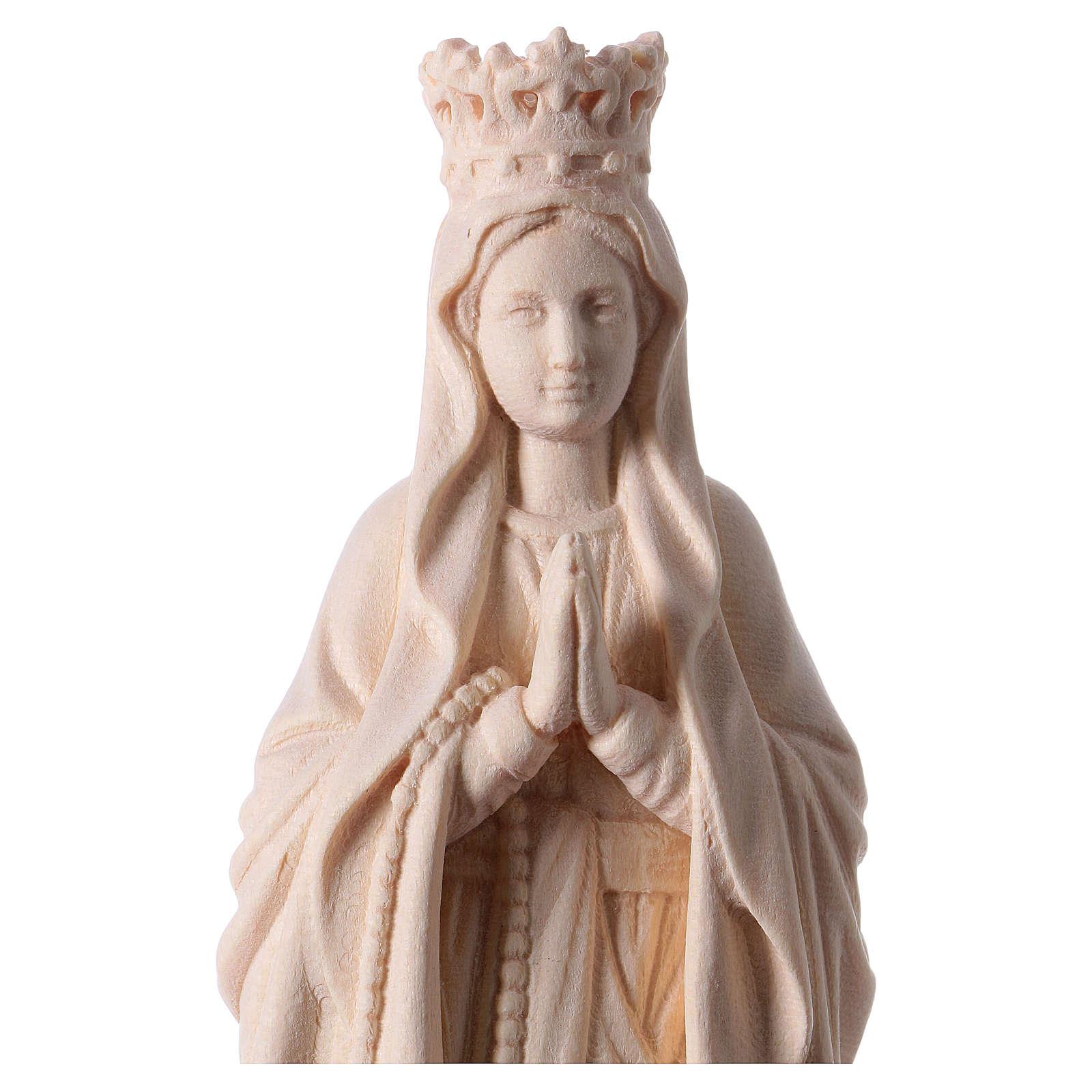 Madonna di Lourdes con corona legno Valgardena naturale 4