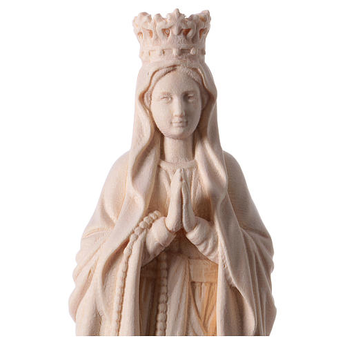 Madonna di Lourdes con corona legno Valgardena naturale 2
