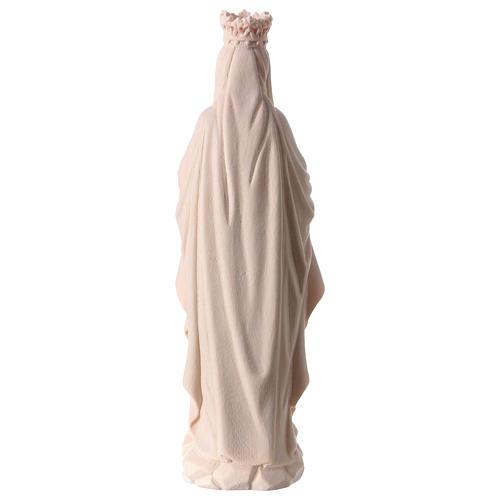 Madonna di Lourdes con corona legno Valgardena naturale 5
