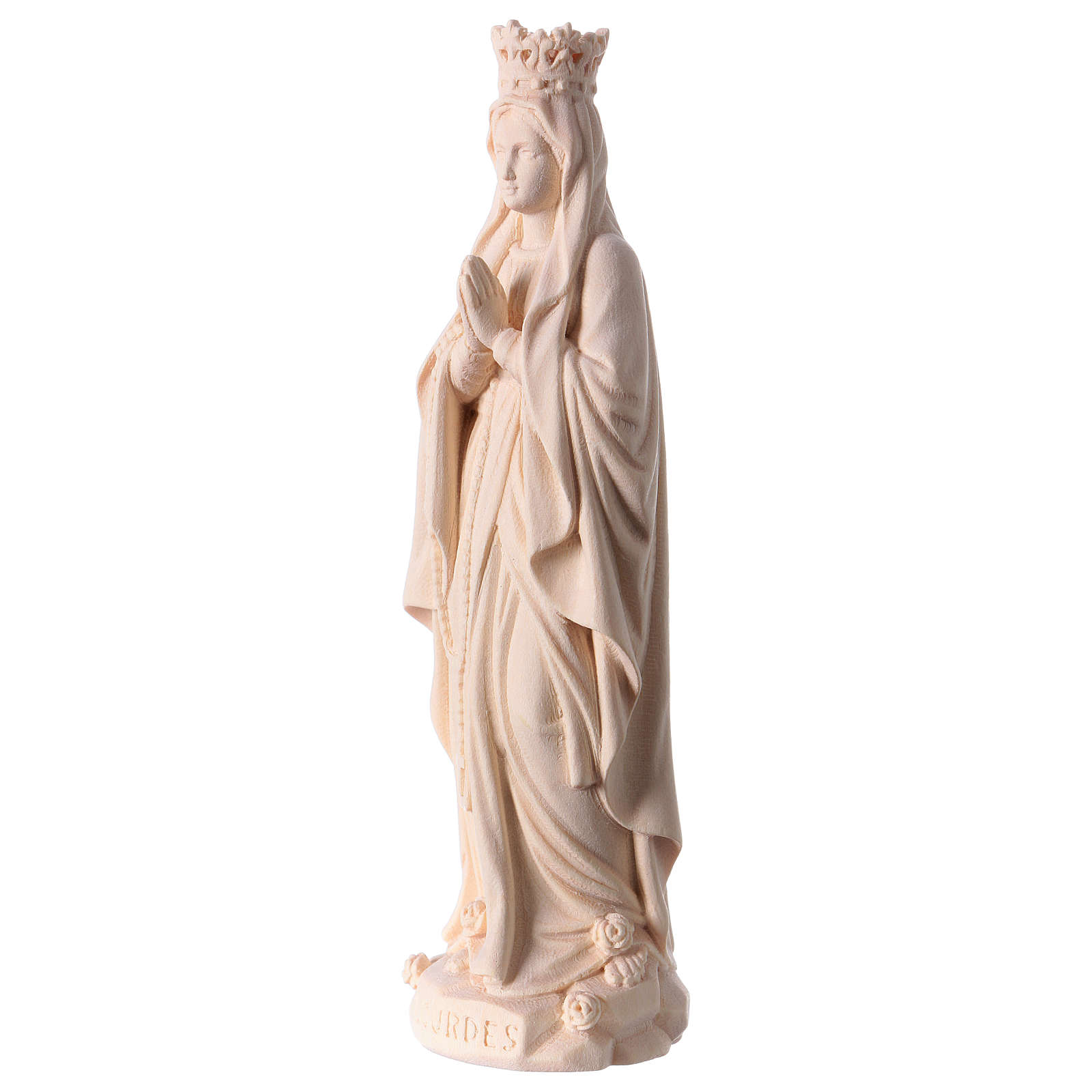 Our Lady of Lourdes with crown in natural wood of Valgardena 4