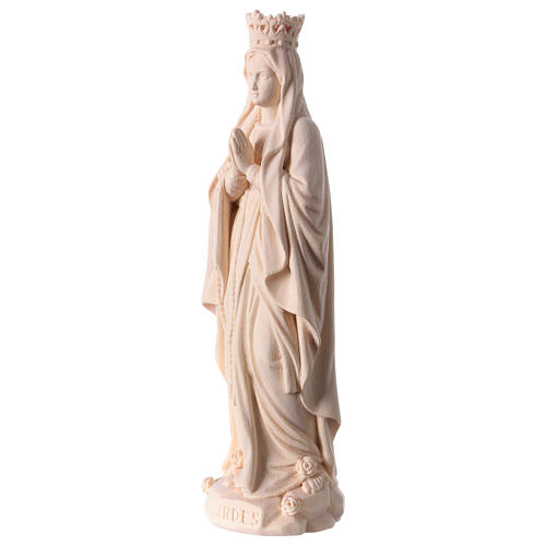 Our Lady of Lourdes with crown in natural wood of Valgardena 3