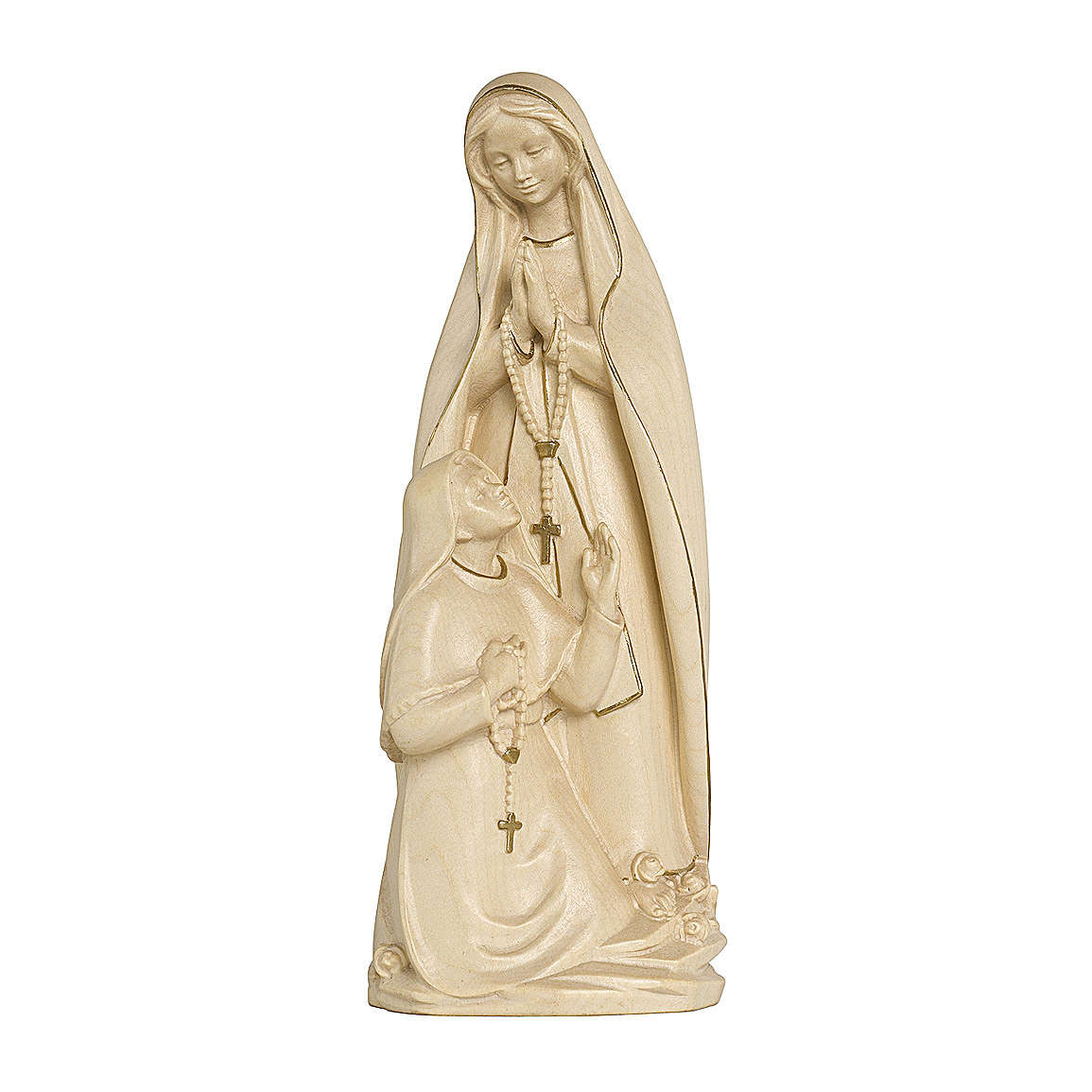 Madonna di Lourdes con Bernadette legno Valgardena cerata filo oro 4