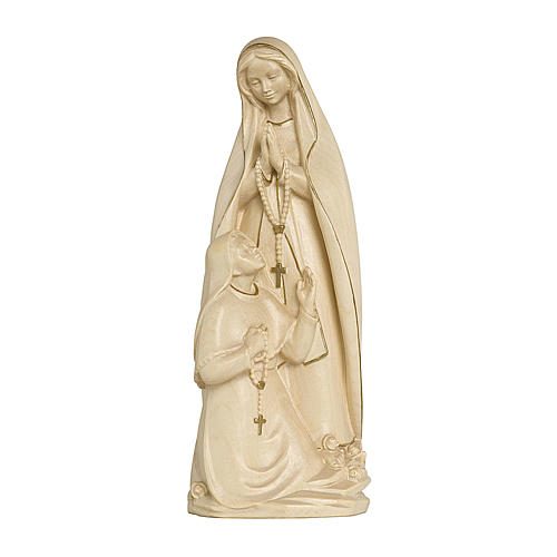 Madonna di Lourdes con Bernadette legno Valgardena cerata filo oro 1