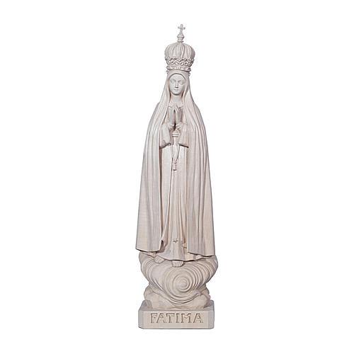 Madonna di Fatima Capelinha con corona legno Valgardena naturale 1