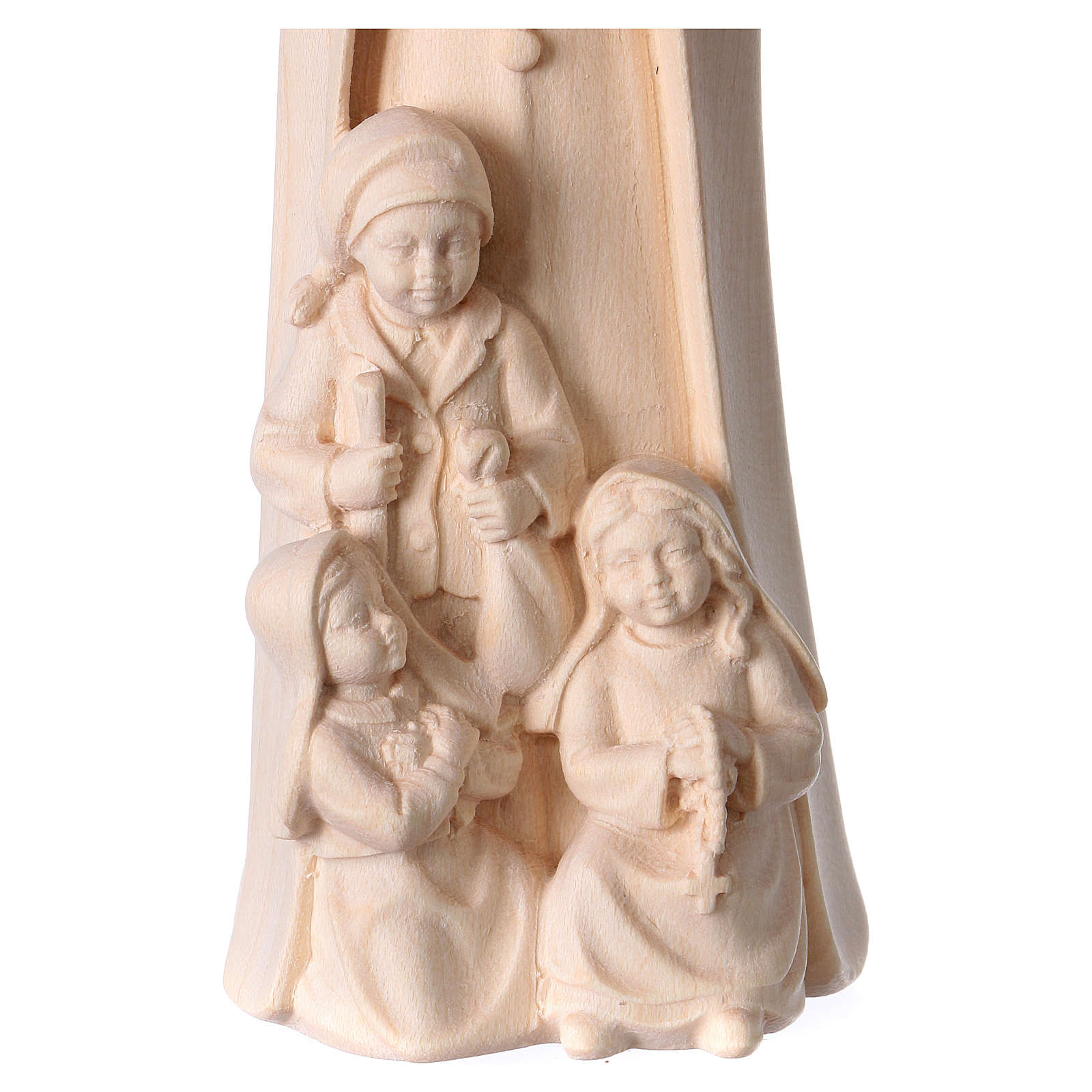 Virgen de Fátima con 3 pastores madera Val Gardena natural 4