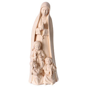 Imágenes de madera natural: Virgen de Fátima con 3 pastores madera Val Gardena natural