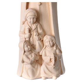 Virgen de Fátima con 3 pastores madera Val Gardena natural s2