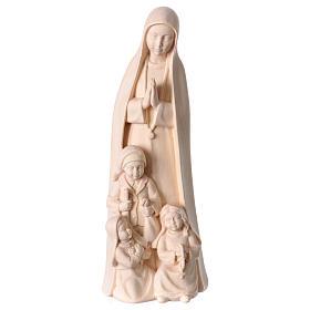 Madonna di Fatima con 3 pastorelli legno Valgardena naturale s1