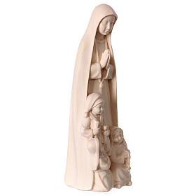 Madonna di Fatima con 3 pastorelli legno Valgardena naturale s4