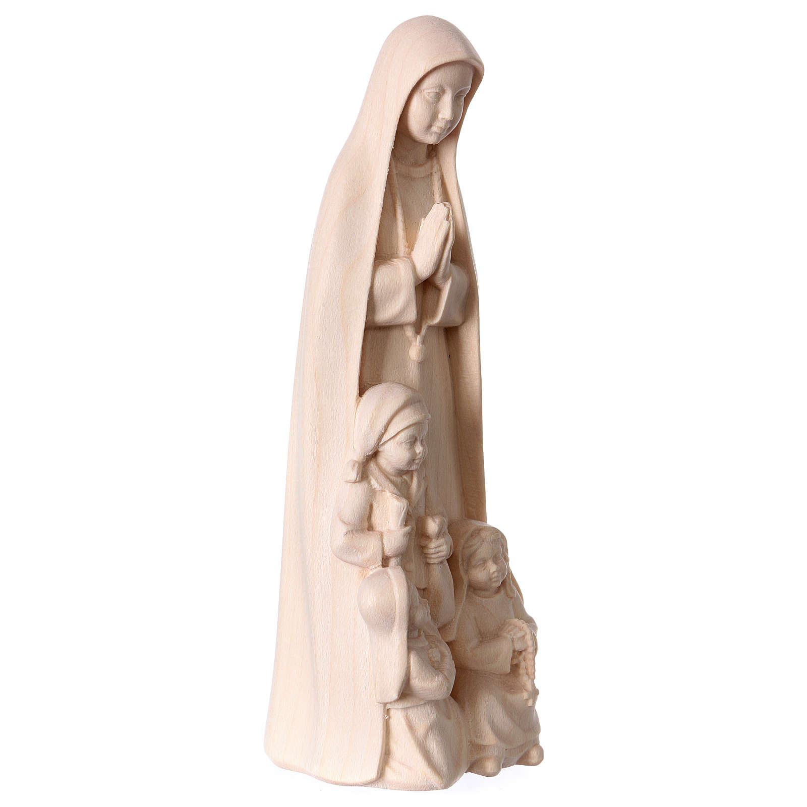 Matka Boska Fatimska z 3 pastuszkami drewno Val Gardena naturalne 4