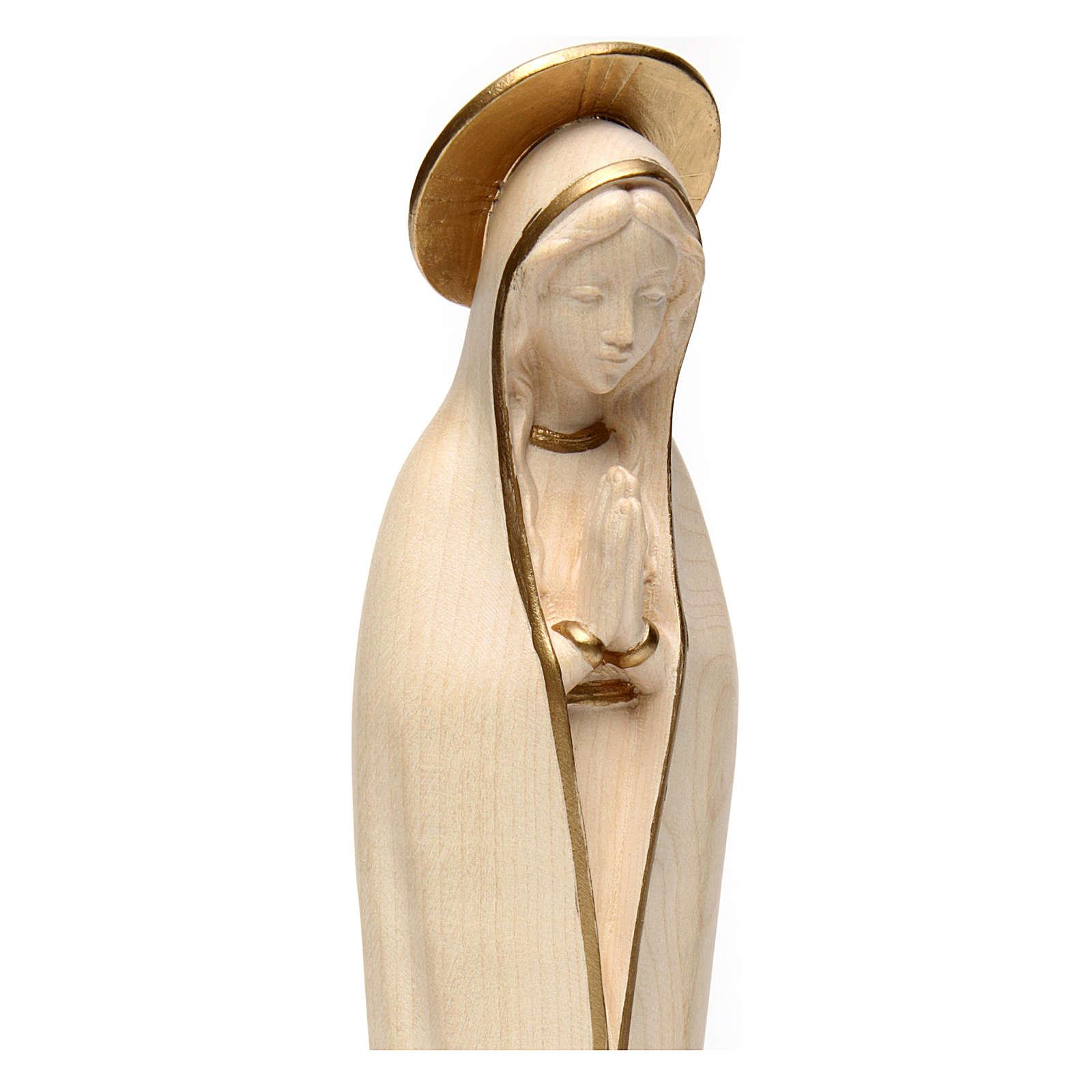 Virgen de Fátima estilizada madera Val Gardena encerada hilo oro 4