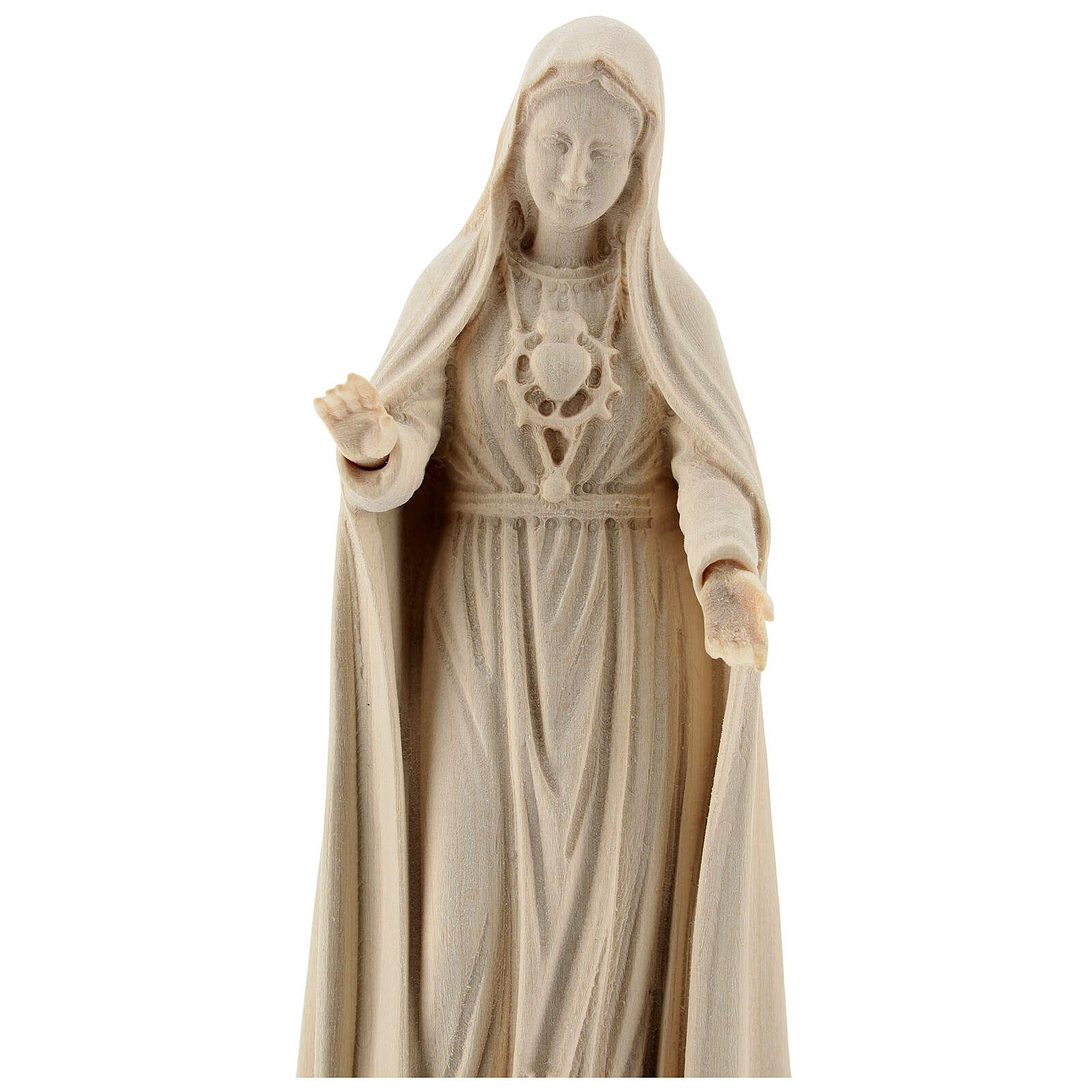 Madonna di Fatima 5. Apparizione legno Valgardena naturale 4