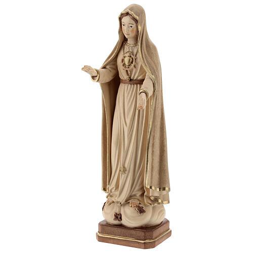 Madonna di Fatima 5. Apparizione legno Valgardena brunito 3 colori 3