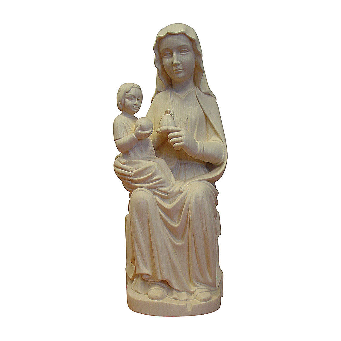 Madonna Mariazell seduta legno Valgardena naturale 4