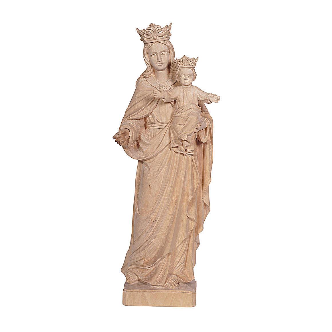 Madonna con bambino e corona legno Valgardena naturale 4