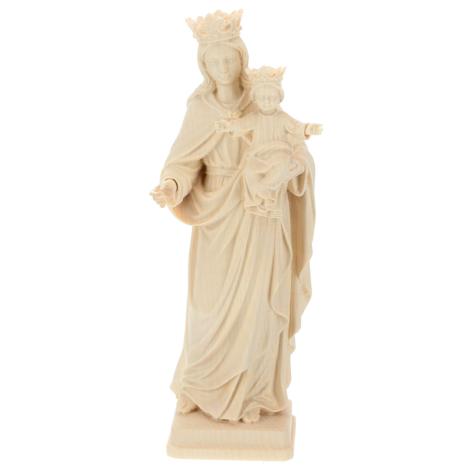 Our Lady with Baby Jesus and crown in natural wood of Valgardena 4