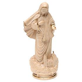 Imágenes de madera natural: Virgen Medjugorje con iglesia madera Val Gardena enceraada hilo oro