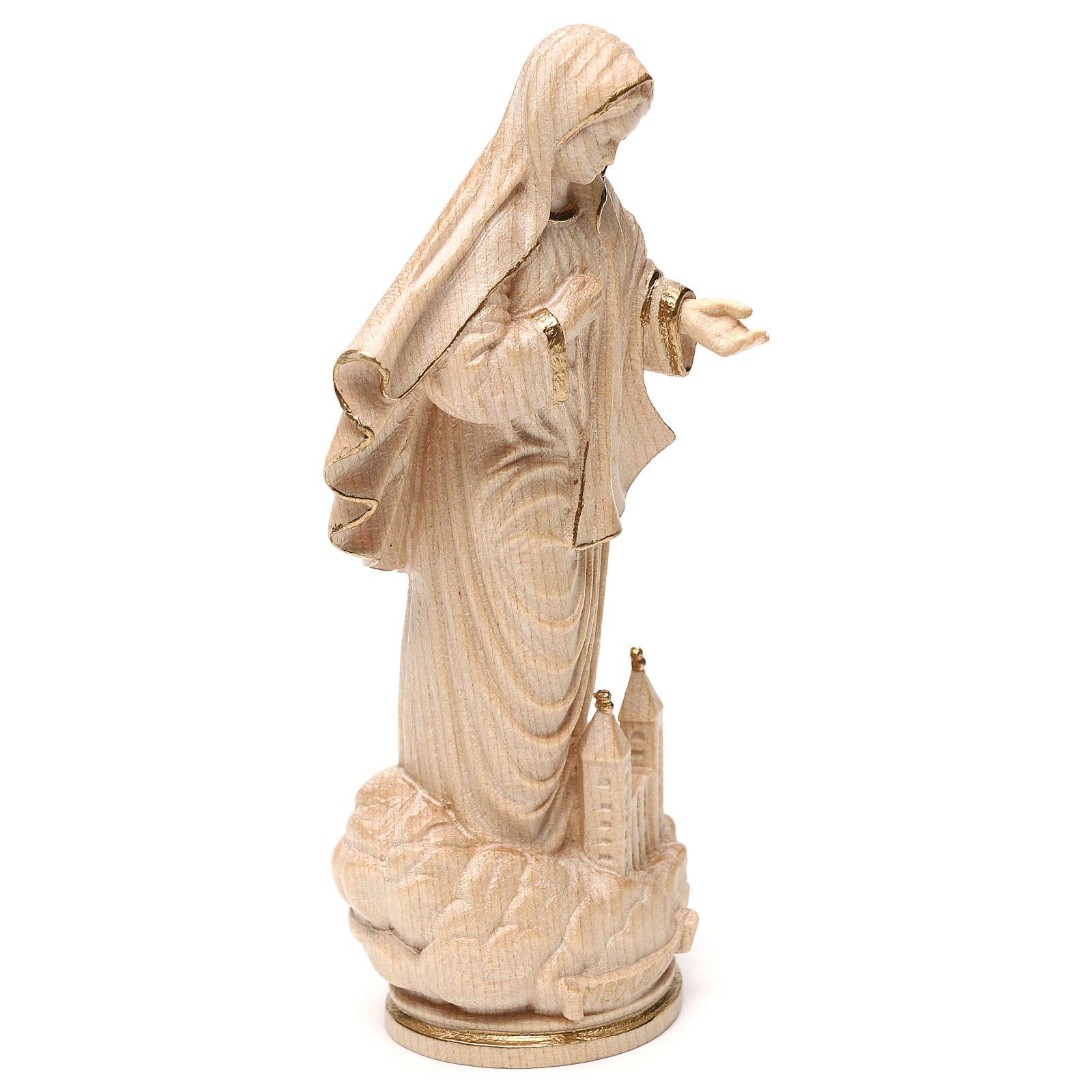 Notre-Dame de Medjugorje avec église bois Val Gardena ciré fil or 4
