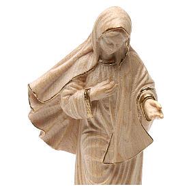 Madonna Medjugorje con chiesa legno Valgardena cerato filo oro s2