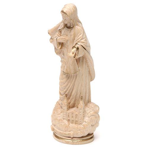 Madonna Medjugorje con chiesa legno Valgardena cerato filo oro 3