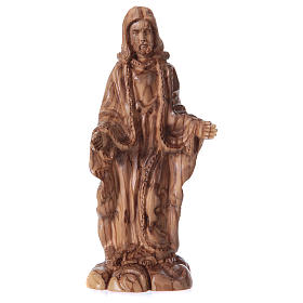 Imágenes de madera natural: Estatua Jesús de olivo de Belén 24 cm