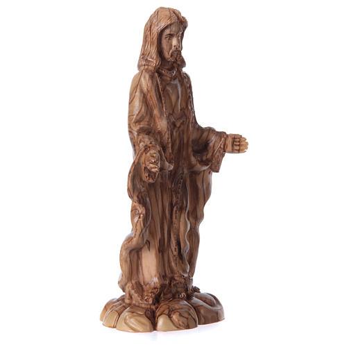 Statua Gesù in ulivo di Betlemme 24 cm 3