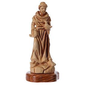 Imágenes de madera natural: Estatua San Francisco de olivo de Belén 23 cm