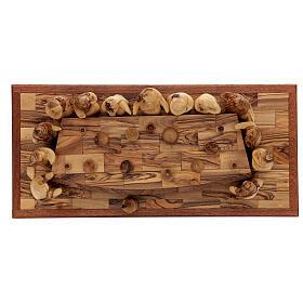 Ultima Cena 12 cm legno ulivo Palestina su base 50x22 cm s7