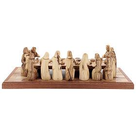 Ultima Cena 12 cm legno ulivo Palestina su base 50x22 cm s8