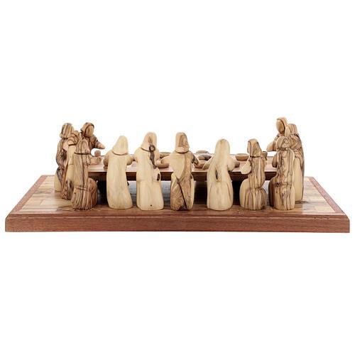 Ultima Cena 12 cm legno ulivo Palestina su base 50x22 cm 8