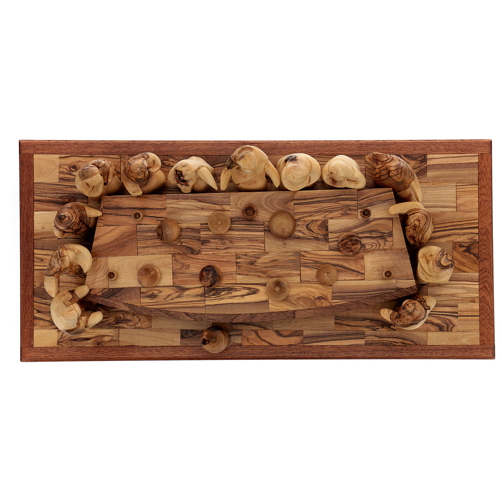 Last Supper set 12 cm Palestinian olive wood on base 50x22 cm 4
