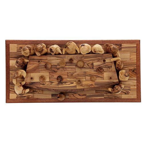 Last Supper set 12 cm Palestinian olive wood on base 50x22 cm 7