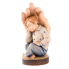 Hand painted wooden statues: Hand of God with baby boy