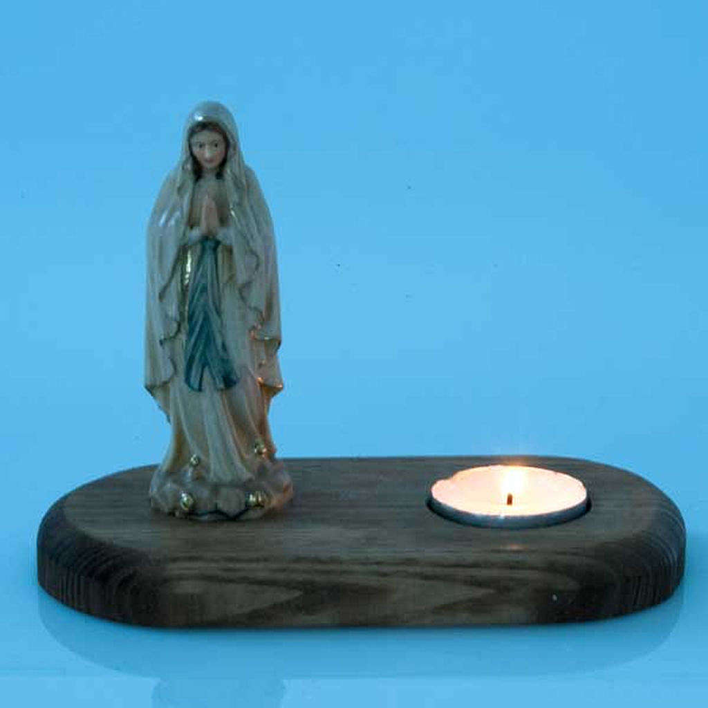 The Virgin of Lourdes with votive candle 3