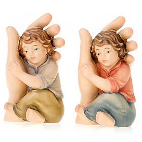 Hand painted wooden statues: Hand of God with child