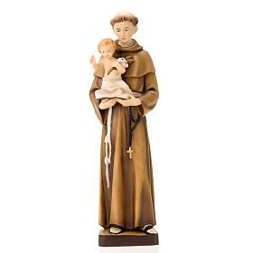 Statues en bois peint: Saint Antoine de Padoue avec enfant Jésus 30 cm