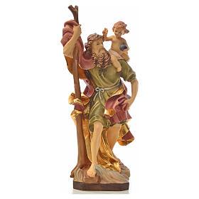 Statues en bois peint: Saint Christophe, statue en bois