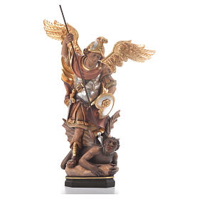 Hand painted wooden statues: Saint Michael Archangel carved wood statue