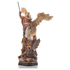 Saint Michael Archangel carved wood statue s2