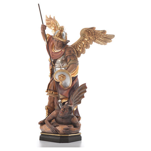 Saint Michael Archangel carved wood statue 2
