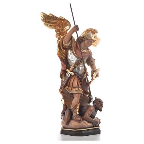 Saint Michael Archangel carved wood statue 4
