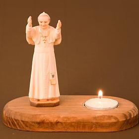 Statua Giovanni Paolo II su base con candela s2