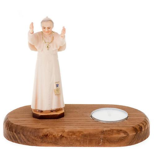 Statua Giovanni Paolo II su base con candela 1