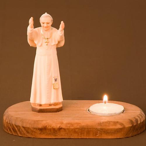 Statua Giovanni Paolo II su base con candela 2