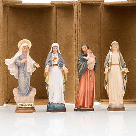 Hand painted wooden statues: Mother Mary bijoux statue with niche