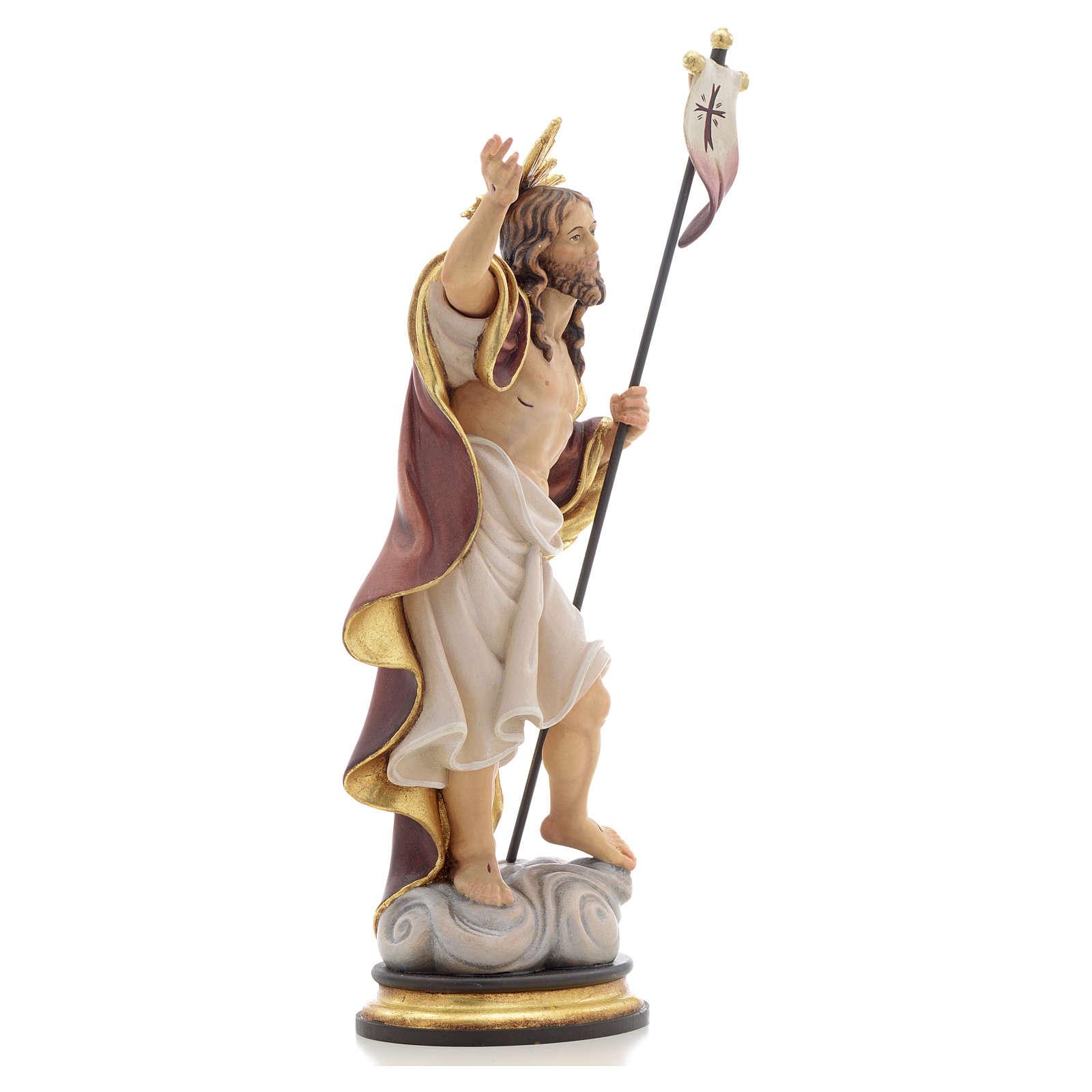 Estatua de madera Resurrección pintada Val Gardena 4